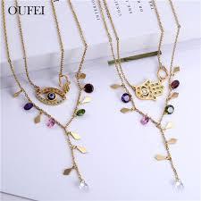 2019 <b>OUFEI Stainless Steel Jewelry</b> Sets Eye Necklace Earrings Set ...