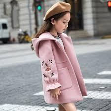 2019 <b>Autumn Winter Girls Woolen</b> Coat Pink Red Flores Design ...