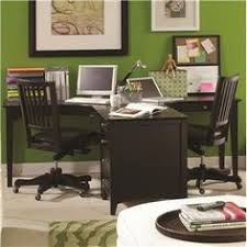 endearing black wooden home office desk for two persons featuring level shape drawers and wheeled black wooden chairs and stainless steel knobs amazing diy home office desk 2 black