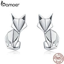 BAMOER Hot Sale <b>Genuine 925 Sterling Silver</b> Fashion Folding Fox ...