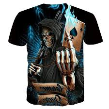Men Tops <b>New 3d Skull Poker</b> Funny T Shirts Casual Printed T Shirt ...