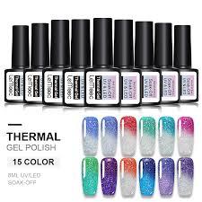 <b>LEMOOC 8ml</b> Thermal Rainbow Nail Gel Polish Temperature <b>Color</b> ...