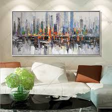 2017 <b>New York Skyline Cityscape</b> Architecture Abstract Wall Art Oil ...