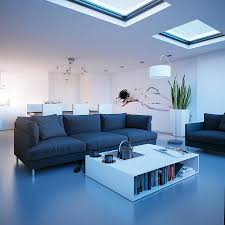 noticeable living room decor in white nuance and artistic wall painting also dark blue sofa as blue dark trendy living room