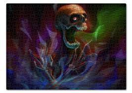 Пазл 43.5 x 31.4 (408 элементов) Skull in <b>colorful</b> smoke #1156145
