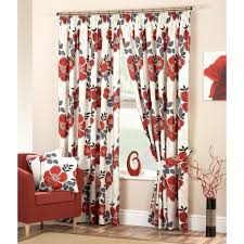 room small red flower curtain