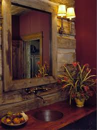country bathroom colors: designing rustic bathroom using sconce table amp sink wood counter sconce log
