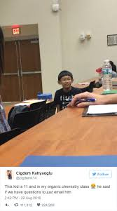 people are going crazy about this 11 year old in college class daniel liu is 11 years old but that doesn t stop him from studying organic chemistry at the university of toledo in ohio