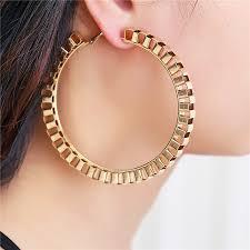 <b>2018 New Fashion</b> Big Circle <b>Punk</b> Hoop Earrings 7.5CM Diameter ...