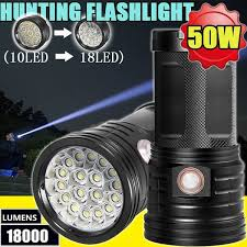 <b>18000LM</b>/50W CREE XML-T6 Outdoor Hunting <b>LED Flashlight</b> High ...