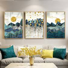 <b>Nordic Abstract Geometric Mountain</b> Landscape Wall Art Canvas ...