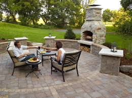 outdoor fireplace paver patio: age fireplace with brisa wall system and britton paving system