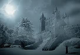 Amazon.com : <b>Laeacco</b> Old Fantasy <b>Castle</b> Snowy <b>Moon</b> Night ...