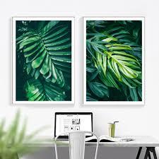 Tropical <b>Monstera Fresh</b> Big <b>Leaf</b> Wall Art Canvas Painting Nordic ...