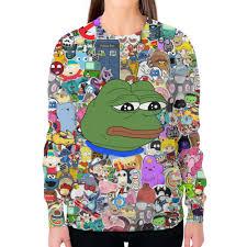 Заказать свитшот женский с полной запечаткой <b>Pepe</b> Frog ...