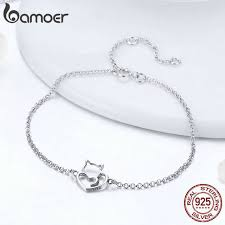 BAMOER <b>100</b>% <b>925 Sterling Silver</b> Cat And Heart Link Chain ...