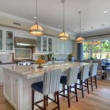 classy white rectangle shape kitchen island with white marble countertops and wooden stools with archaic kitchen eat