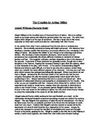 the crucible character analysis essay  www gxart orgthe crucible by arthur miller abigail williams character study the crucible by arthur miller abigail williams