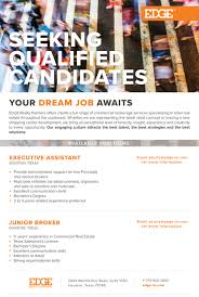 edge realty partners linkedin edge realty partners is seeking qualified candidates for our houston office see details below and submit all resumes to adrienne at akurtz edge re com
