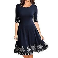 BAOHOKE <b>Women's</b> Floral Printed <b>Slim</b> Half Sleeve Knee Length ...