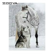ZOOYA 5D <b>Diamond Embroidery Winter</b> Snow White Horse &Wolf ...