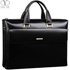 <b>YINTE Leather Men's</b> Briefcase Business Men Black Handbag High ...