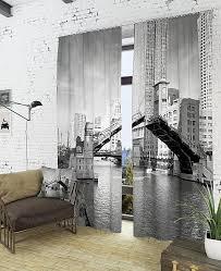 Купить комплект фотоштор «Разводной мост» серый/черный по ...