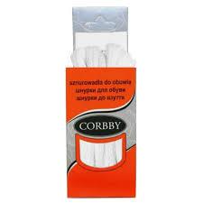 <b>шнурки CORBBY 90см хлопок</b> плоские белые - Чижик