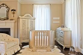 baby rooms luxury nursery oval gold unique stained steel cribs white glamorous comfortable furry rugs cream boy high baby nursery decor