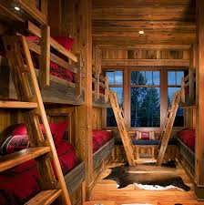 amusing rustic wooden cabin with classic home accessories awesome kids room with bunk beds on amusing rustic small home