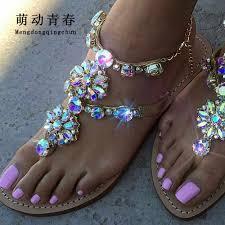 Plus Size 35 47 <b>Women</b> Sandals <b>Crystal</b> Colorful <b>Rhinestones</b> ...