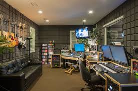 recording studio lighting home office contemporary with black sofa brown carpet ceiling lights for home office
