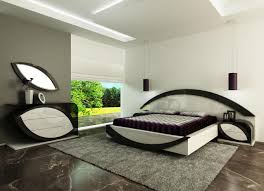 unique design of exclusive black and white gloss bedroom furniture with curved headboard placed on grey chairs bedrooms unique