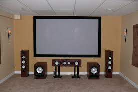 best home theater speakers alluring ideas with big wide screen and front also cream beige wall best office speakers