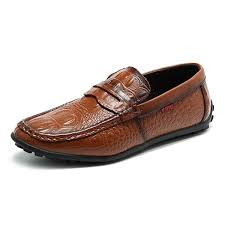 <b>Men Crocodile Pattern</b> Soft Slip On Doug <b>Shoes</b> Casual Leather ...