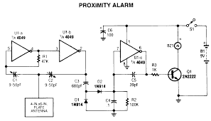 proximity alarm circuit diagram project   alarms  amp  security    proximity alarm circuit diagram