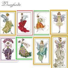 <b>Flower fairy</b> cross stitch kit <b>beauty</b> women <b>girl</b> 14ct counted fabric ...