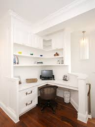 stunning white built in desk area at the top of stairs built corner desk home