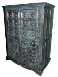 blue patina armoire cabinet bohemian furniture