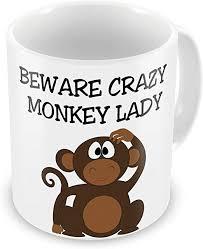 Funny Mug Beware Crazy Monkey Lady Novelty Gift ... - Amazon.com