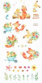 20% <b>Fox</b> & <b>Bunny</b>. <b>Watercolor</b> bundle | Nursery drawings ...