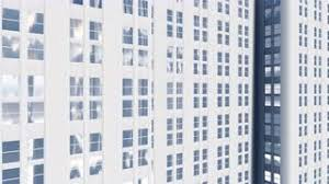 abstract white high rise office building looking as architectural scale model with reflection on abstract 3d office building