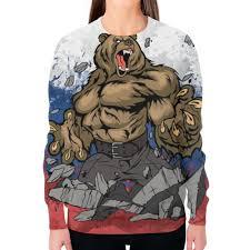 """Свитшот женский с полной запечаткой """"Русский <b>Медведь</b> ..."""