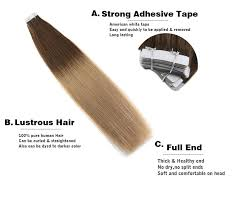 <b>Moresoo Remy</b> Tape in Hair Extensions Human Hair <b>Skin Weft</b> Glue ...