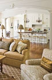 beautiful kitchen comfy living room love that wide open archway which provides a little beautiful open living room