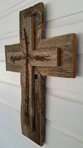 rustic cedar wood wall cross decor barbed wire repurposed reclaimed barn wood country western gift great gift barn wood ideas