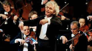 "Sir <b>Simon Rattle</b> conducts ""Carmina Burana"" at the 2004 New Year's ..."
