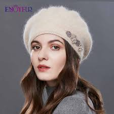 ENJOYFUR Rabbit Knitted Winter Hats For <b>Women Cashmere</b> ...