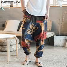 Baggy <b>Cotton</b> Linen Harem Pants Men Hip hop Women Plus <b>Size</b> ...