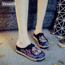 ZX982 Veowalk Handmade Summer Women Canvas Close Toe ...
